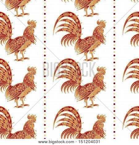 Fiery red rooster Zodiac sign in 2017. Seamless pattern. Embossing gold foil on white background. Design for packing Christmas gifts. Concept New Year symbols. Vector illustration.