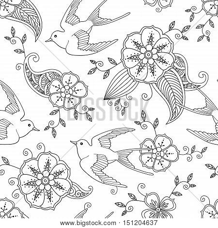 Seamless pattern with swallow bird flying and floral motif hand drawn isolated on white background. Vector illustration.