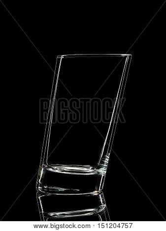 Silhouette of glass for shot with clipping path on black background.