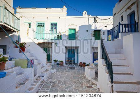 FOLEGANDROS, GREECE - SEPTEMBER 24, 2016: Typical houses of Folegandros village on September 24.