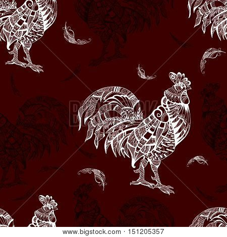Pattern with rooster on brown background. Cock. Animal. Bird. Seamless pattern. Figure for textiles. Seamless