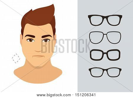 Man sunglasses shapes for diamond man face type. Various forms of summer eyeglasses for diamond face. Fashion collection. Vector icon set.