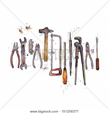 hand drawn tool kit isolated at white background, shacksaw, adjustable wrench, hammer, pliers and chisel, vintage ink drawing illustration