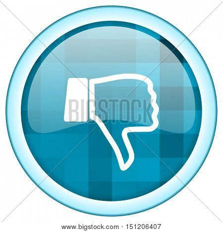 Blue circle vector unlike icon. Round internet glossy dislike button. Web design graphic element.