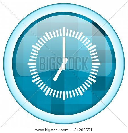 Blue circle vector time icon. Round internet glossy clock button. Web design graphic element.