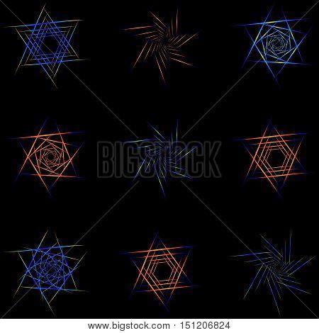 Set of nine different stars. Different interpretations of the stars and spirals.