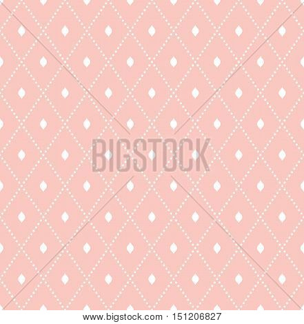 Geometric dotted vector pink and white pattern. Seamless abstract modern texture for wallpapers and backgrounds