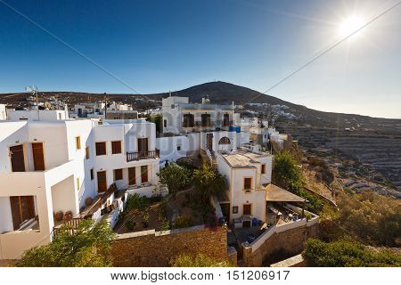 View of Folegandros village and surrounding terrace fields.