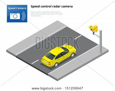 Isometric speed control radar camera, isolated on white background.