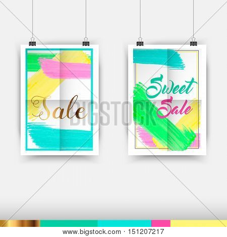 Collection of Seasonal Sale Typography Poster Template With Lettering and Color swatches
