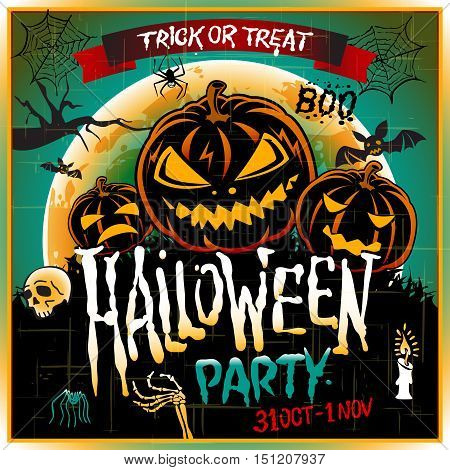Happy Halloween Poster. Vector illustration. art pumpkin