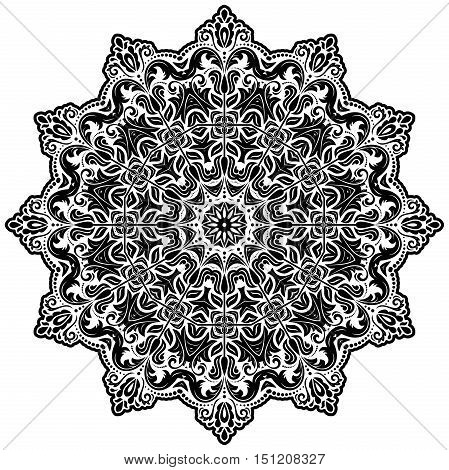 Elegant vector black round ornament in classic style. Abstract traditional pattern with oriental elements