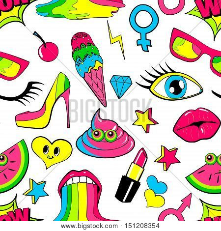 Seamless pattern of fashion patch badges. lips, kiss, heart, speech bubble, star, ice cream, lipstick, eye. Vector isolated background with stickers, pins, patches in cartoon 80s-90s comic style