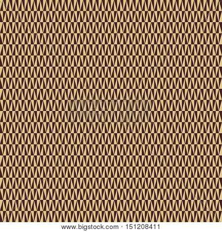 Geometric vector pattern with brown nad golden triangles. Seamless abstract background