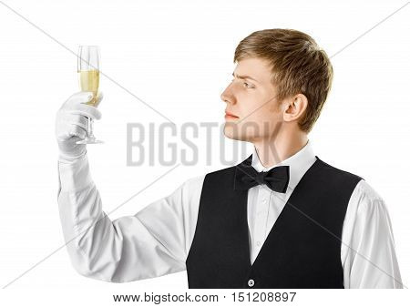 Sommelier Examining Wine