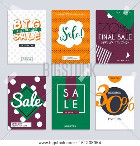 Set media banners with discount offer. Shopping background label for business promotion. Can be used for website and mobile website banners web design posters email and newsletter designs.