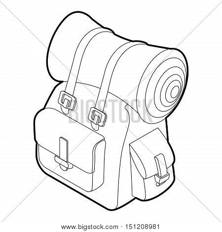Backpack icon. Outline isometric illustration of backpack vector icon for web.
