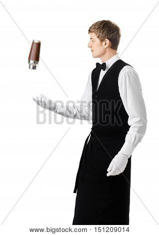 Bartender Juggling With Shaker And Making Cocktail