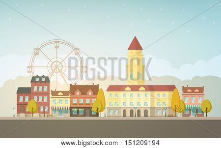 Autumn city landscape. Urban background with buildings, tower, town hall, shop, stores, market, ferris wheel, alley, street. Vintage house. Evening sky with cloud. Vector illustration in flat design
