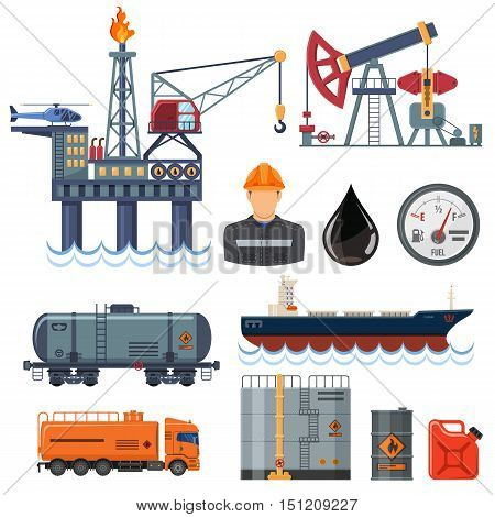 Oil industry extraction production and transportation oil and petrol Flat Icons Set with oilman rig and barrels. Isolated vector illustration.