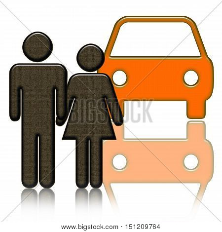 Couple standing together near the orange car