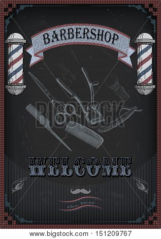 Frame border scissors shears brush swab razor hairclipper blade shingle barber vintage retro inscription barbershop. Vector vertical closeup top view beautiful old school barber's salon signborad