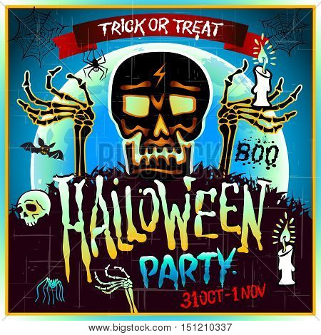 Halloween Party Design Template With Skull Zombie And Place For Text.