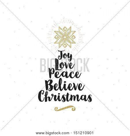 Christmas greeting card - Calligraphy greeting with glitter gold ornament. Stylized Christmas tree with star.