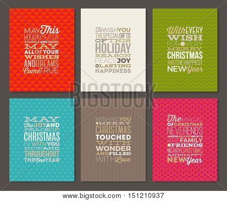 Set of Christmas type design  with different backgrounds. Christmas greeting cards. Vector illustration.