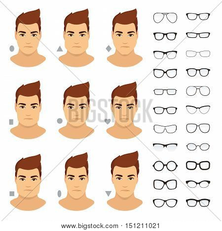Eyeglasses shapes for men. Types of eyeglasses for different man face - square triangle circle oval diamond long heart rectangle. Vector icon set. All glasses with transparent glass.