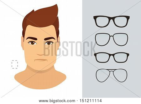 Man sunglasses shapes for rectangle man face type. Various forms of summer glasses for rectangle face. Fashion collection. Vector icon set.