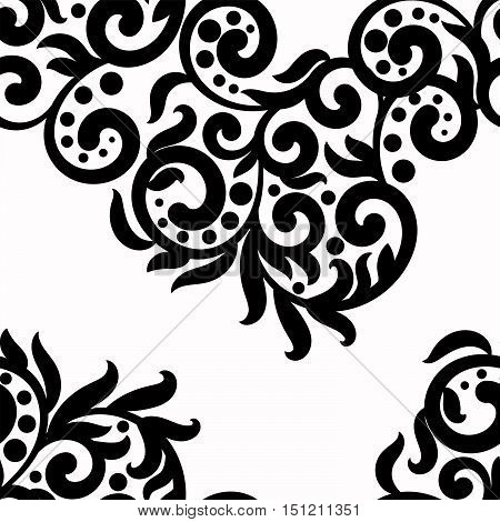 Black and white background, vector lace texture ornament, wavy seamless pattern monochrome swirls , dots, leaves.