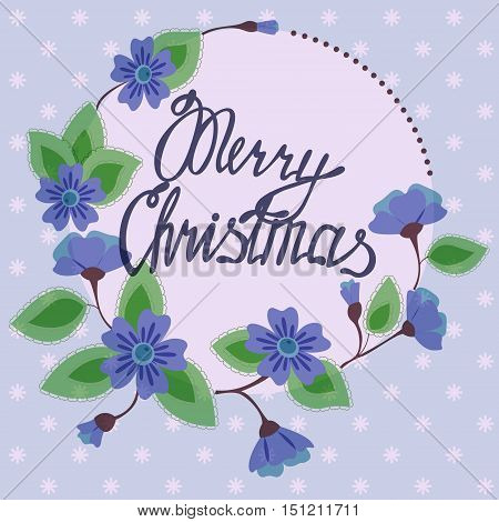 Vector merry christmas lettering on floral card vintage