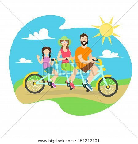 Happy Family Tandem Bike. Man and Woman and Daughter Together. Flat Design Style. Vector illustration