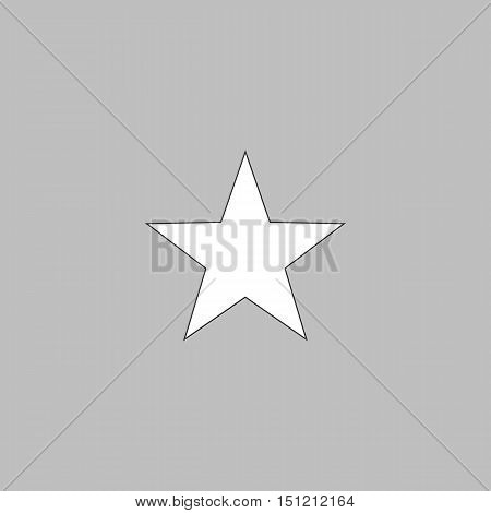 Clasic star Simple line vector button. Thin line illustration icon. White outline symbol on grey background