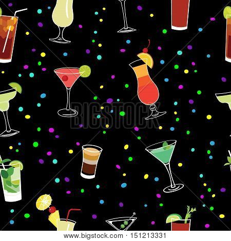 Cocktail and confetti party black seamless vector pattern.