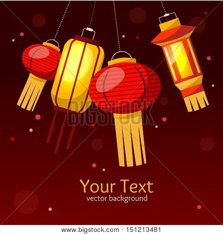 Chinese Paper Street or House Lantern Background. Flat Design Style. Vector illustration