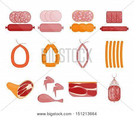 Meat and Sausage Set. Salami Slices. Flat Design Style. Vector illustration