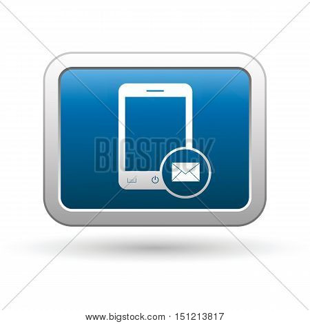 Phone with mail menu icon on the button. Vector illustration