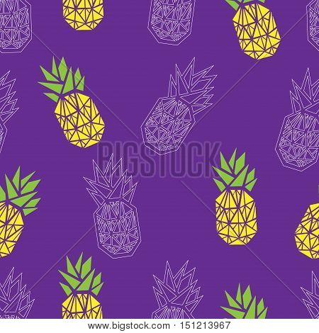 Purple and yellow pineapple textile vector print seamless pattern