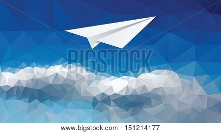 vector illustration of the paper plane on the cloudy sky, low poly, blue background