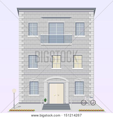 Detailed apartment house with street light and bike in the courtyard. Gray town building with balcony light door and wide porch. Vector illustration isolated on white background.