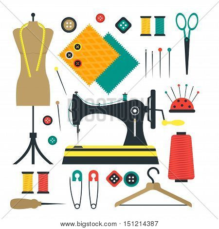 Sewing Equipment and Tools Set for Craft or Hobby. Flat Design Style. Vector illustration