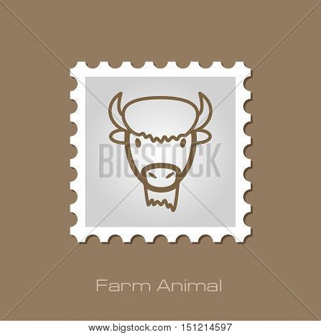 Bison bull buffalo ox outline stamp. Animal horned head vector symbol eps 10
