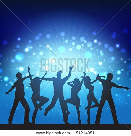 Silhouettes of party people on disco lights background
