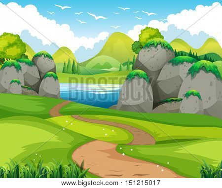 Nature scene with hiking track and lake illustration