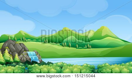 Nature scene with waterfall and mountains illustration