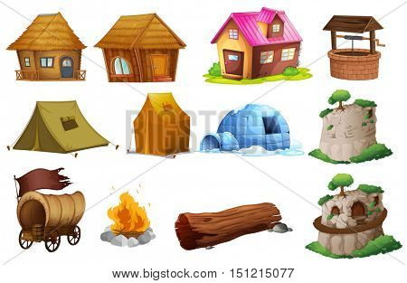 Different types of accommodations illustration