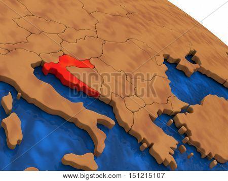 Croatia On Wooden Globe