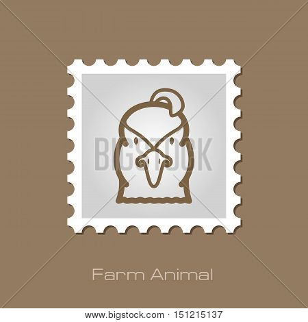 Quail outline stamp. Animal head vector symbol eps 10